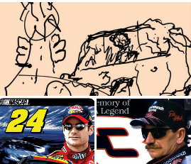 """at five years old my grandson Jason drew this picture of his hero Kale earnhardt sr #3 (the intimidator) crashing in the final lap at the daytona 500, when i asked him what that thing to the right was, he replied, """" that's an angel coming to take Dale to racing Heaven."""""""